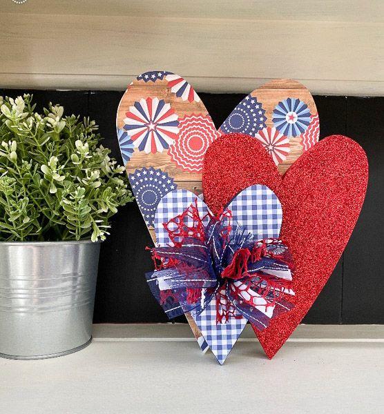 Stacked USA Hearts
