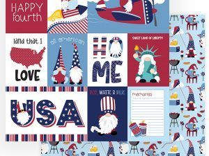 Photo Play Paper - Gnome for July 4th Collection - 12 x 12 Double Sided Paper - All American