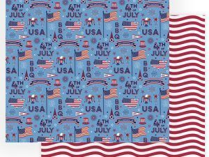 Photo Play Paper - Gnome for July 4th Collection - 12 x 12 Double Sided Paper - July 4th